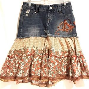 Candies Denim Jean Skirt Tiered Boho Peasant Sz 5